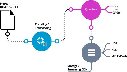 Cloud Transcoding mit 3Q in verschiedene Codecs und zu einem adaptiven multibitrate Stream