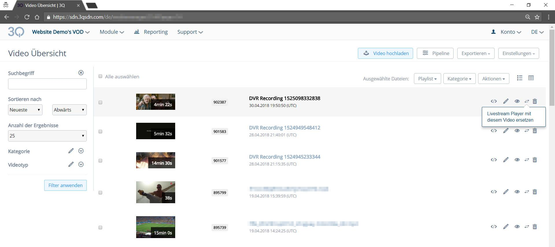 Ersetzen des DVR Embed-Codes mit mit VoD - Screenshot