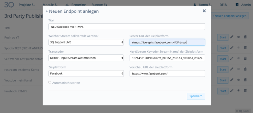 Screenshot 3Q Interface Neuen Endpoint anlegen