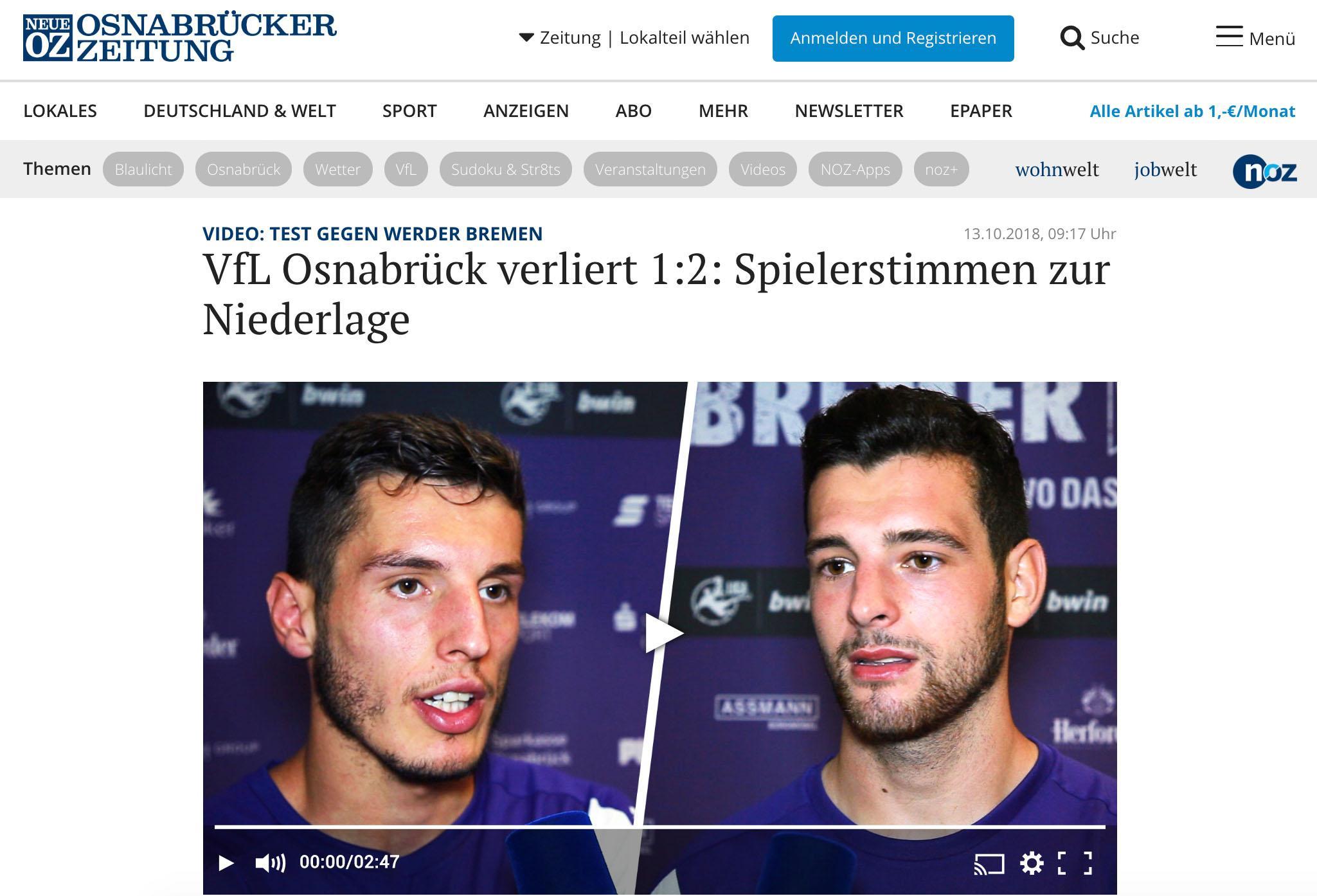 Screenshot Osnabruecker Zeitung