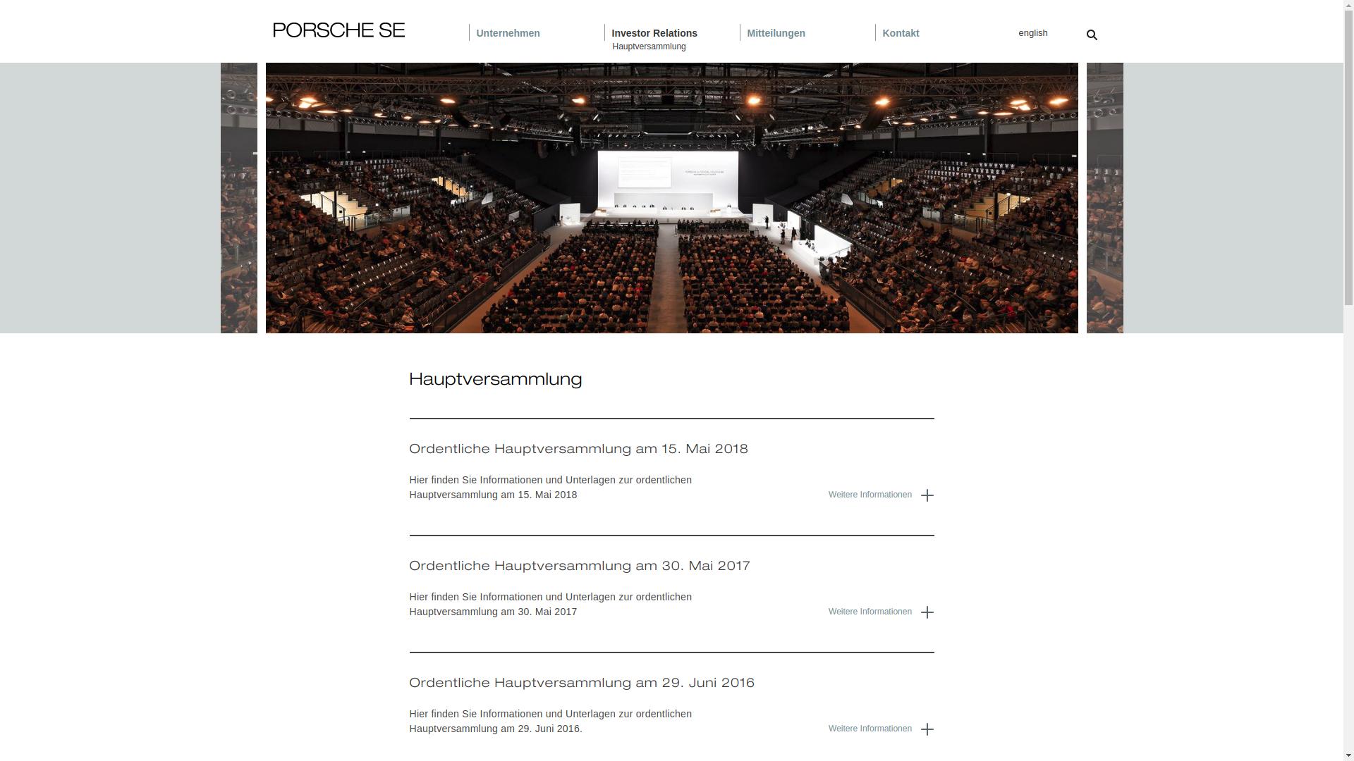 Porsche SE Website Screenshot